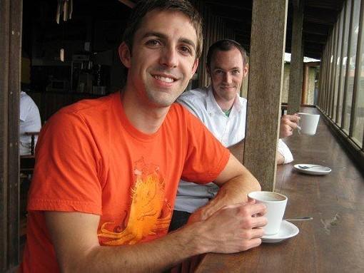 The author (background) and his friend Scott at La Casa del Café San Ramón. - ZACH DYER