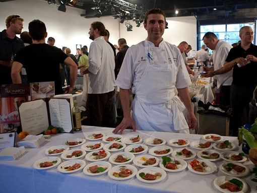 Josh Galliano of Monarch with his dish: Root Cellar and Hannaway Farms' tomato terrine, whipped balsamic, Goatsbeard chèvre, crème fraîche and black olive oil. - PHOTO: STEW SMITH