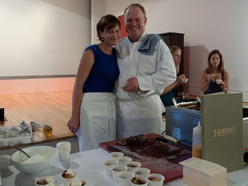 Steve Gontram (right) of Harvest featured two dishes: 1. Missouri grass-fed oxtail barley with peppered ahi tuna and a roasted sweet red pepper emulsion, and 2. warmed Companion brioche bread pudding with bourbon-currant sauce and vanilla whipped cream - PHOTO: STEW SMITH