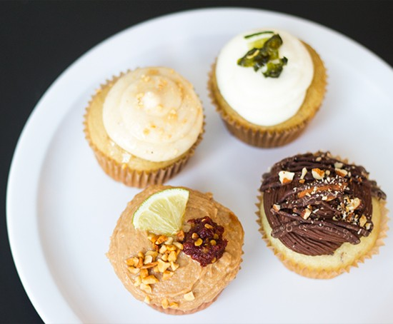 A selection of Stimulus Baking Company cupcakes: Salted-Caramel Cashew, Salsa Verde, Pad Thai and Chocolate Almond.