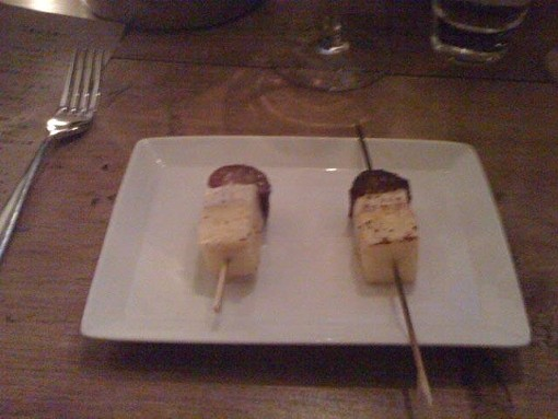 Escolar and pineapple on stick, with housemade pepperoni