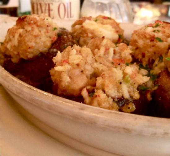 Seafood-stuffed mushrooms, made fresh each day at Zia's. - ETTIE BERNEKING
