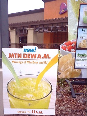 """Taco Bell's """"MTN Dew A.M."""" breakfast cocktail. - IMAGE VIA"""
