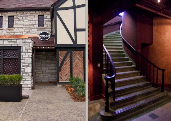 The exterior of Basso (left) and the sweeping staircase leading to the lower-level restaurant (right). - LIZ MILLER