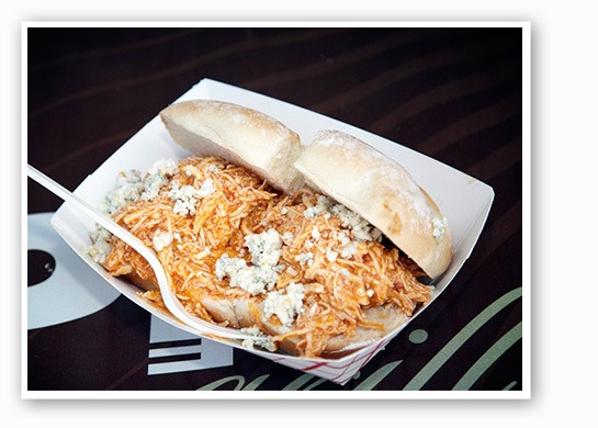Triumph Grill's Daytona Chicken Sandwich, with shredded chicken, cayenne pepper sauce, melted bleu cheese and herb ranch sauce.   Steve Truesdell