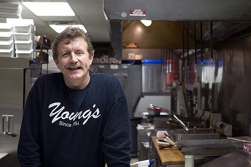 Marilyn and Bud Young handed the business over to their son (pictured above), who continues to run the family business. It is not uncommon to find Grant, or Mr. Mayor if you please, conducting city business from the back table of the restaurant.  Go inside Young's with our slideshow. - PHOTO: JENNIFER SILVERBERG