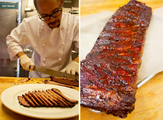 Chef Christopher Lee slices smoked brisket; A rack of St. Louis style ribs. - MABEL SUEN