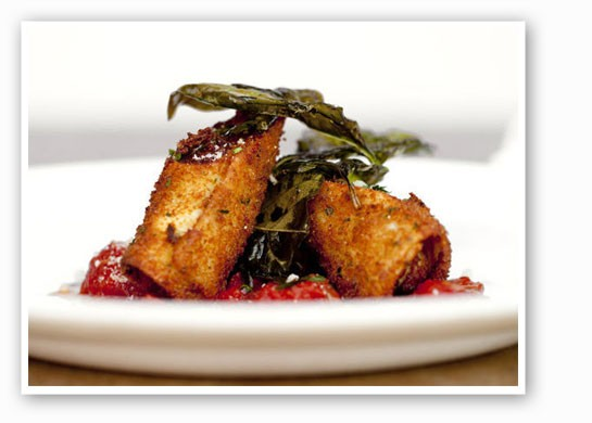 Housemade fried cannelloni with tomato sauce at Tavolo V. | Jennifer Silverberg