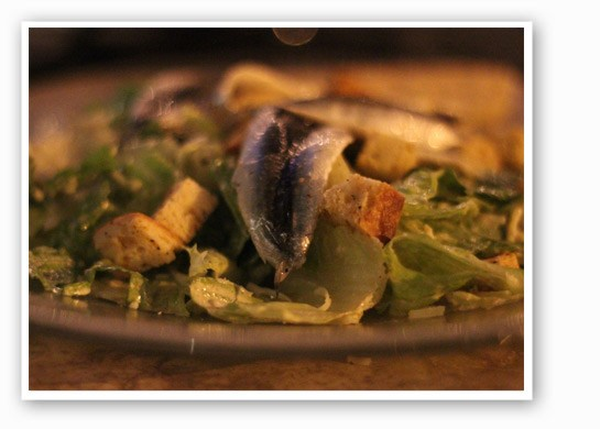 Caesar salad with romaine lettuce, white anchovy, garlic and parmesan. | Nancy Stiles