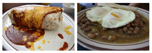 Two menu staples: the breakfast burrito (doused in chile and cheese) and the huevos rancheros. - CHRISSY WILMES