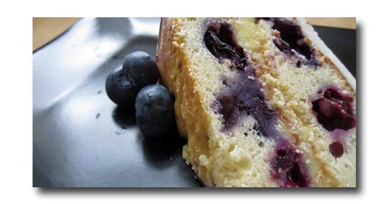 Blueberry cake with lemon cream cheese frosting -- Gut Check is drooling in a most unseemly way. Is there a seemly way to drool? - FIFTYTWOCAKES.COM
