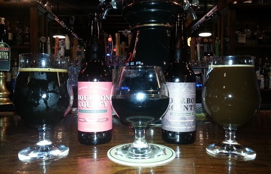 From left to right: Bourbon County Stout, Bourbon County Coffee Stout and Bourbon County Barleywine. - RICHARD HAEGELE