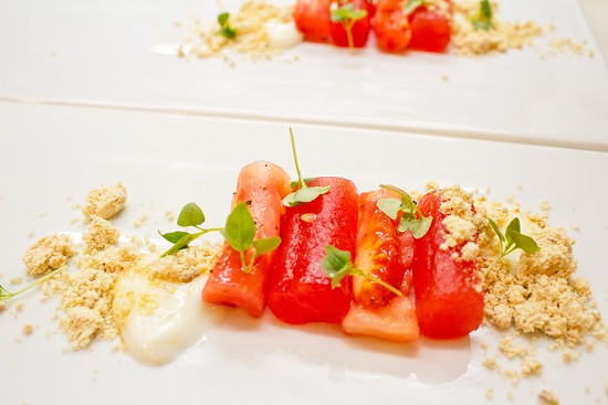 Heirloom tomato and compressed watermelon salad - MABEL SUEN