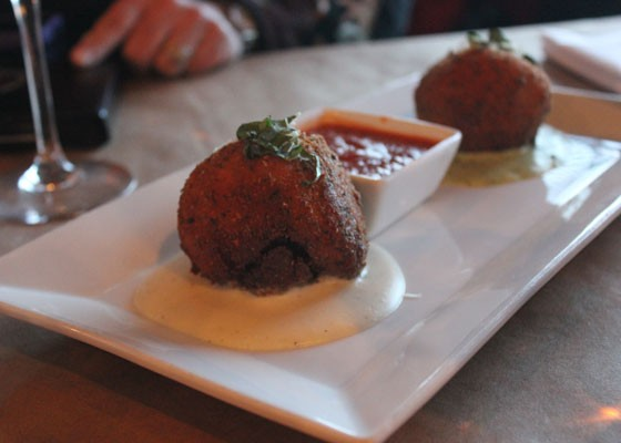 The arancini appetizer. | Nancy Stiles