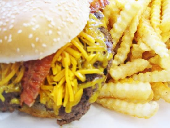 A bacon cheeseburger with fries at It's a Better Burger - IAN FROEB