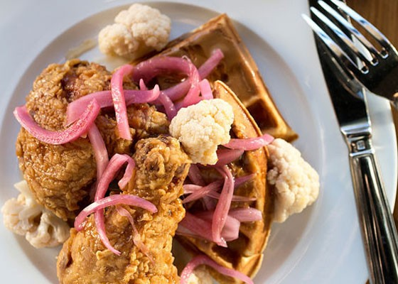 Fried chicken and waffles at Juniper. | Jennifer Silverberg
