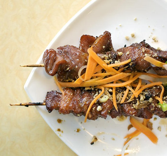 """Heo lui, a barbecued pork shish kabob appetizer, at this year's """"Best Vietnamese Restaurant"""" - JENNIFER SILVERBERG"""