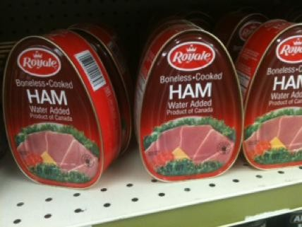 Canned hams, awaiting your great-great-great Aunt Helen. - ROBIN WHEELER