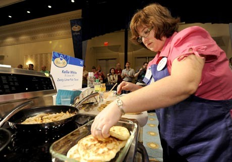 Kellie White of Kirkwood en route to a category win at the Pillsbury Bake-Off. Today she'll learn if she won a cool $1 million. - PILLSBURY BAKE-OFF