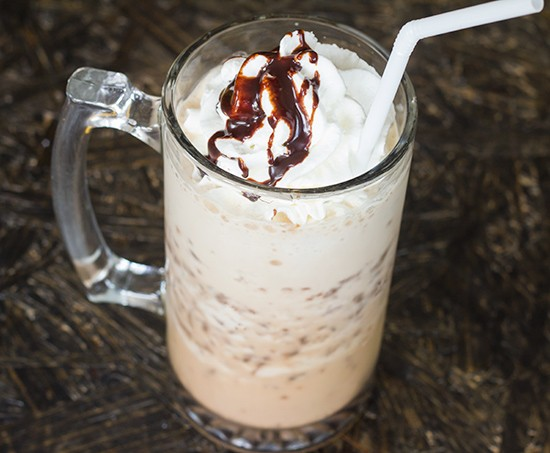 """Restituo's """"Oh Fudge Me"""" frappe with Ghirardelli dark chocolate fudge chunks, espresso and housemade vanilla extract. 