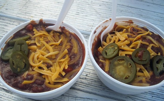 Pick your poison: You got your Chili Cheetos on the left and a Chili Slider Bowl on the right. - ROBIN WHEELER