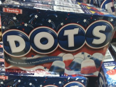 Yeah, it's candy, which doesn't have a natural color. Might as well be red, white, and blue.