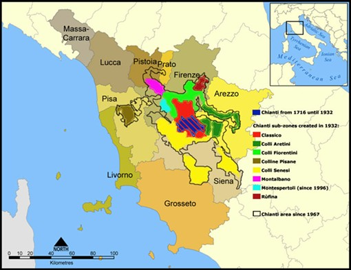 "The various Chianti regions - USER ""KATTIVIK,"" WIKIMEDIA COMMONS"