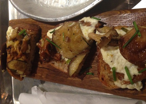 Toast topped with ricotta cheese and mushrooms.   Nancy Stiles