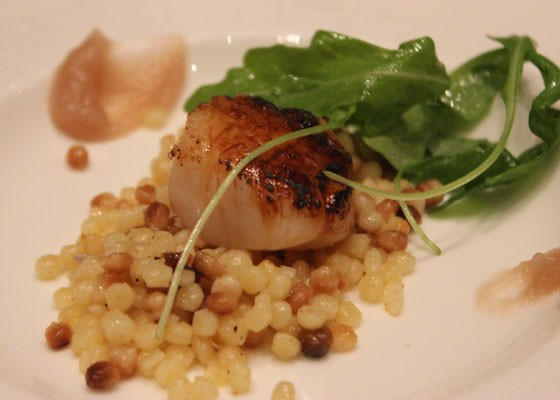 Bruleed sea scallop with fennel Jam, arugula and fennel pollen citronette. | Nancy Stiles