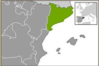 """Catalonia is highlighed in green (main) and black (inset). - USER """"MARTORELL,"""" WIKIMEDIA COMMONS"""