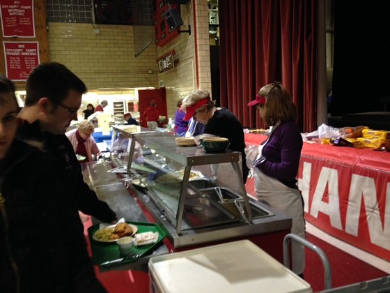 The line at the Epiphany of Our Lord fish fry. | Cheryl Baehr