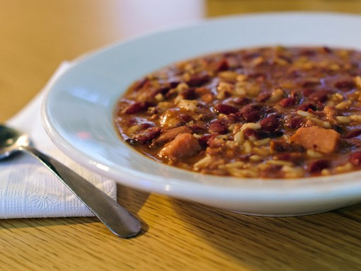 Johnny's chef Chris Roth says their Red Beans and Rice is a little different than what you'd get in New Orleans - theirs is a lighter dish, and more soup-like. It's a dish they've been perfecting since 1993. See more photos here. - PHOTO: JASON STOFF