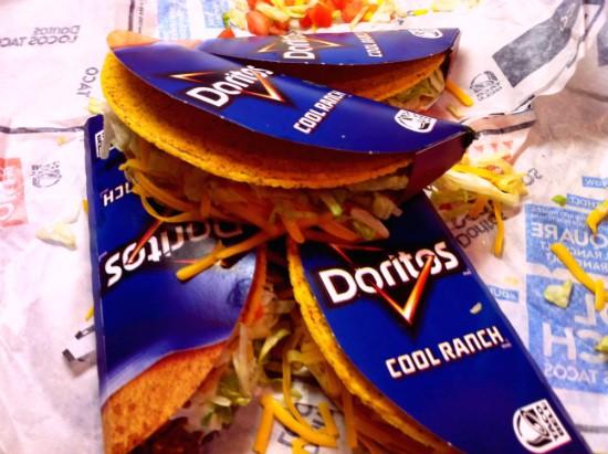 Taco Bell's Regular and Supreme Cool Ranch Doritos Locos Tacos. - LIZ MILLER