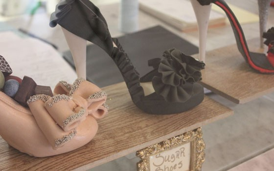 A chocolate shoe, left, and a sugar shoe.   Nancy Stiles