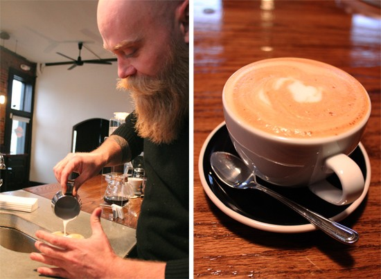 Scott Carey crafts a cappuccino brewed with his Slayer espresso machine. - MABEL SUEN