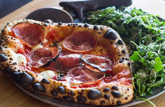 Another look at the lunch special -- an individual-sized pizza paired with a side salad.