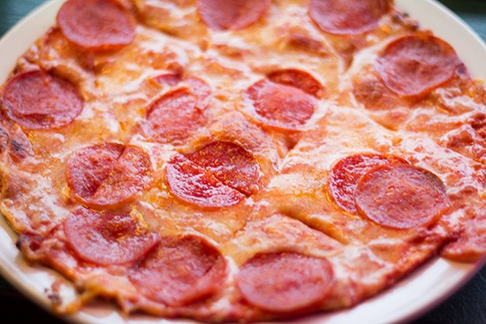 Appetizer-sized pepperoni pizza. | Photos by Mabel Suen