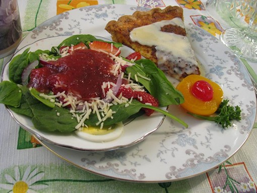 Quiche and a Fleur de Lis salad.