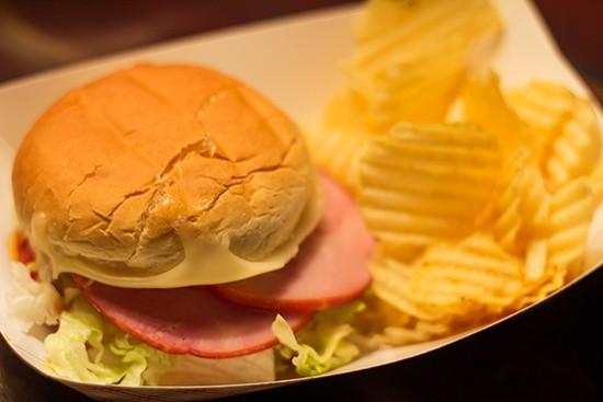 Ham, pepperoni and mozzerella sandwich.