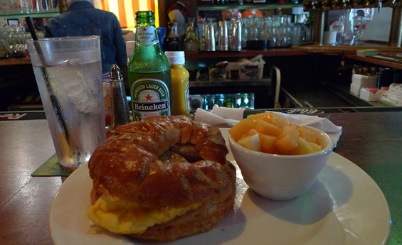 The croissant breakfast sandwich at Barrister's. It's as big as your face.
