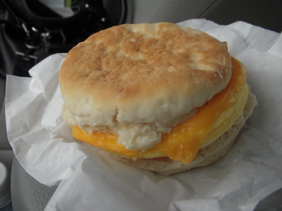 For $2.69, you get a biscuit, an egg patty and some thin strips of bacon.