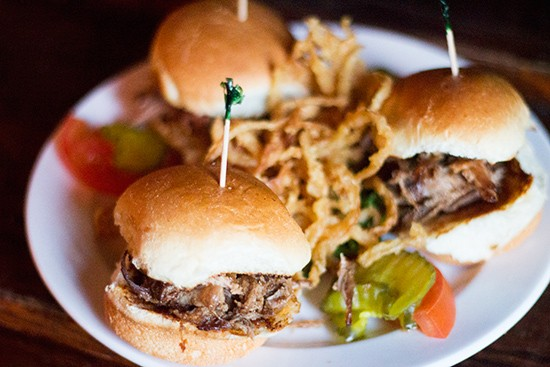 Mini pulled-pork sandwiches at Llywelyn's. | Photos by Mabel Suen