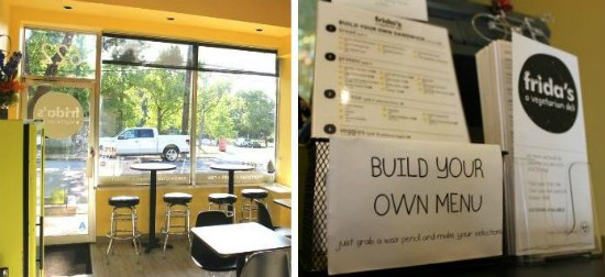 The interior of Frida's Deli (left) and the restaurant's build-your-own menu (right). - LIZ MILLER