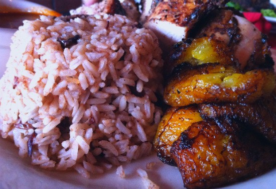Rice, plantains and jerked chicken from De Palm Tree. - LIZ MILLER