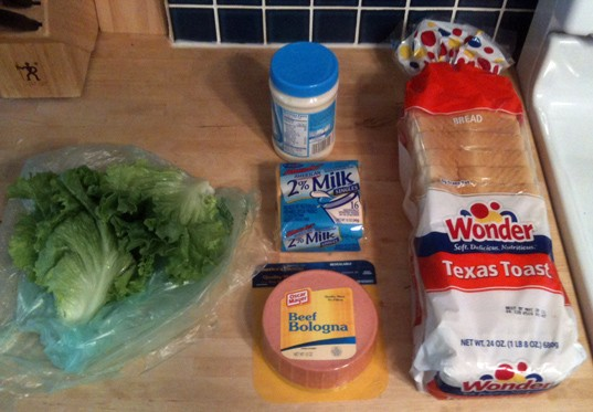 The ingredients: Wonder Bread Texas Toast, Miracle Whip, leaf lettuce, American cheese, Oscar Mayer beef bologna