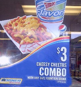 Cheesy Cheetos appear to be simply that: part Cheetos, part nacho cheese. - IMAGE VIA