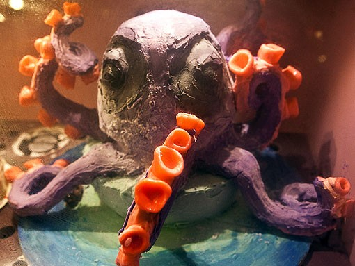 The septapus, formerly the octopus, lost an arm in construction. It is made up of peanut butter and chocolate ice cream and and peanut butter and chocolate cake. This was Kerry's most challenging cake. - PHOTO: STEW SMITH