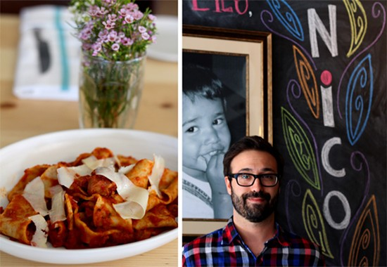 Pappardelle with ragu Napolitano-pancetta, pork shoulder, pork belly and tomato sauce / Owner Tom Schmidt with a portrait of his nephew Nico inside his new restaurant - MABEL SUEN