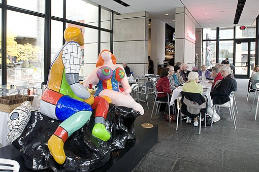 """Adam & Eve"" was created by another French artist, Niki de Saint Phalle. It took four years to create (1985-1989) and is made of painted polyester and fiberglass. View a Terrace View slideshow. - PHOTO: JENNIFER SILVERBERG"