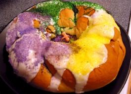 A traditional Louisiana king cake.